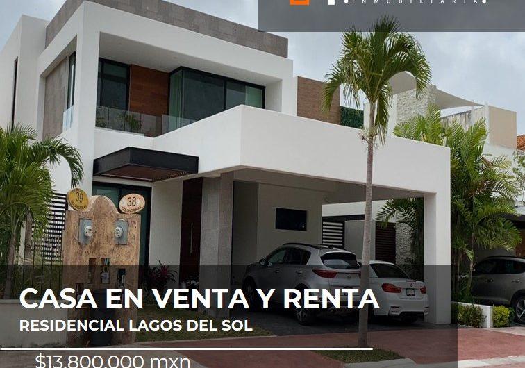 CASA EN VENTA Y RENTA EN RESIDENCIAL LAGOS DEL SOL